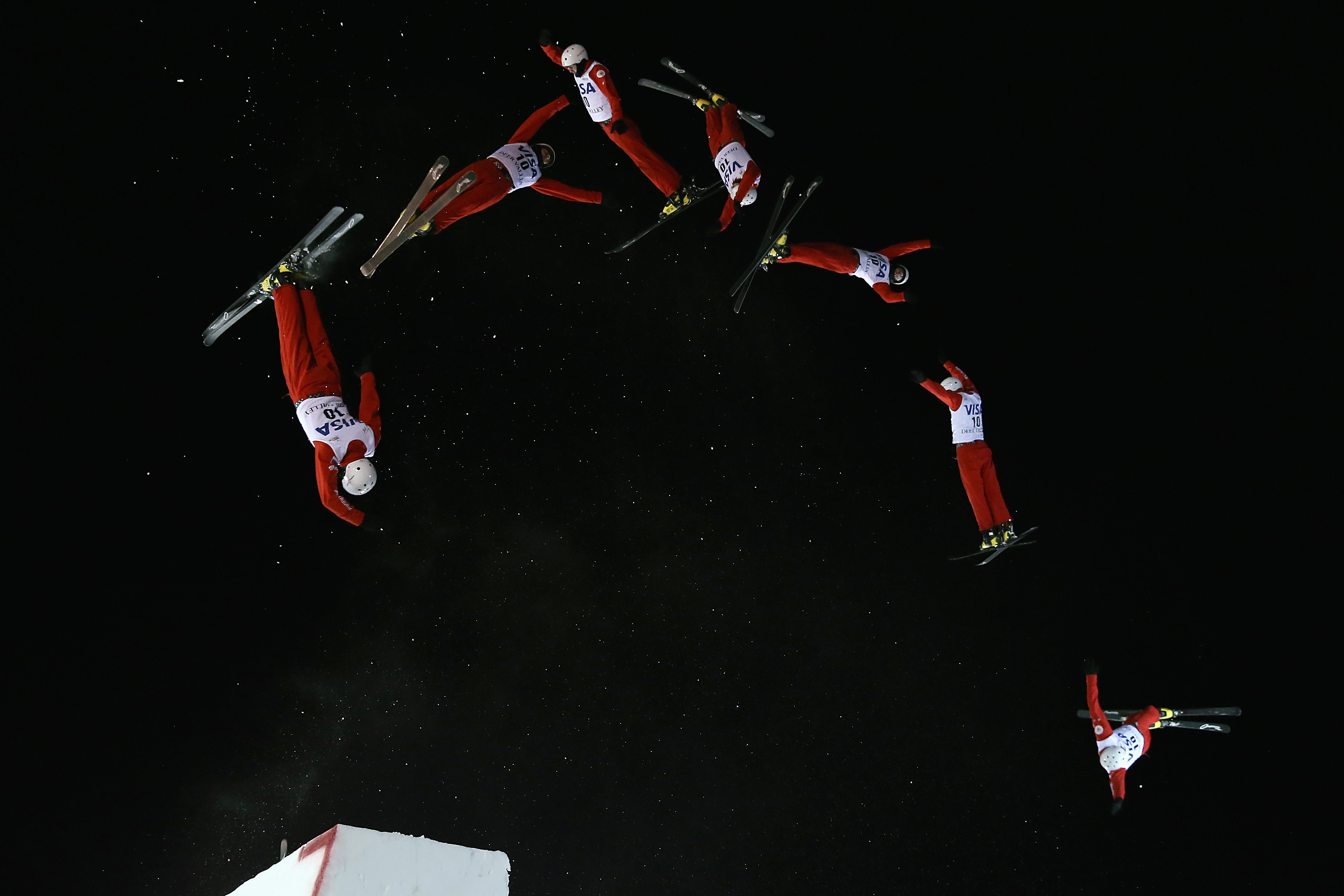 PARK CITY, UT - FEBRUARY 05:  (EDITORS NOTE: Multiple exposures were combined in camera to produce this image.) Petr Medulich of Russia jumps to first place in the men's FIS Freestyle Skiing Aerials World Cup at Deer Valley on February 5, 2016 in Park City, Utah.  (Photo by Doug Pensinger/Getty Images)