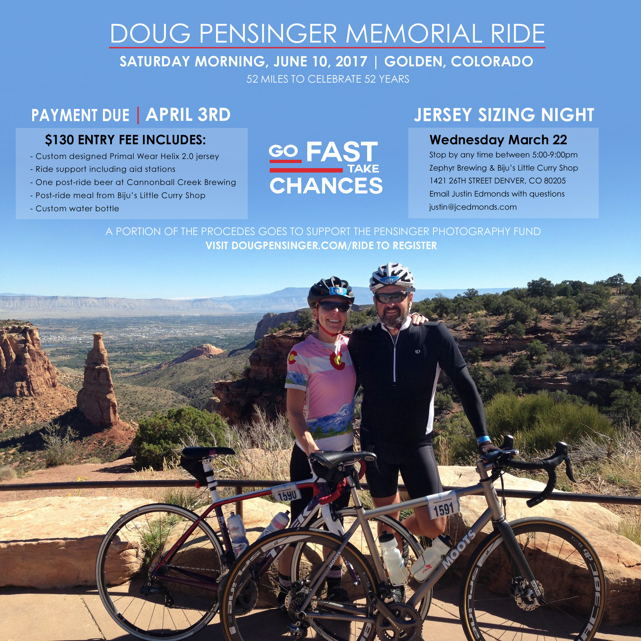 Information for the Doug Pensinger Memorial road cycling ride in Golden, Colorado on June 10, 2017